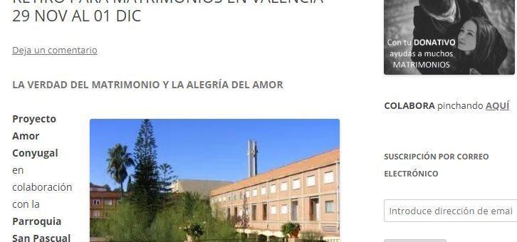 Retiro matrimonios 29nov. Proyecto Amor Conyugal